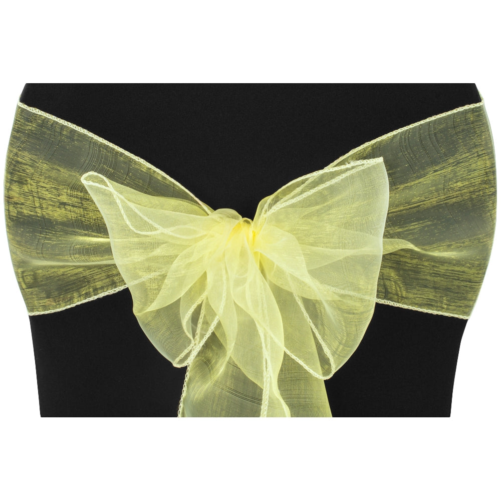 Organza Chair Sash - Yellow