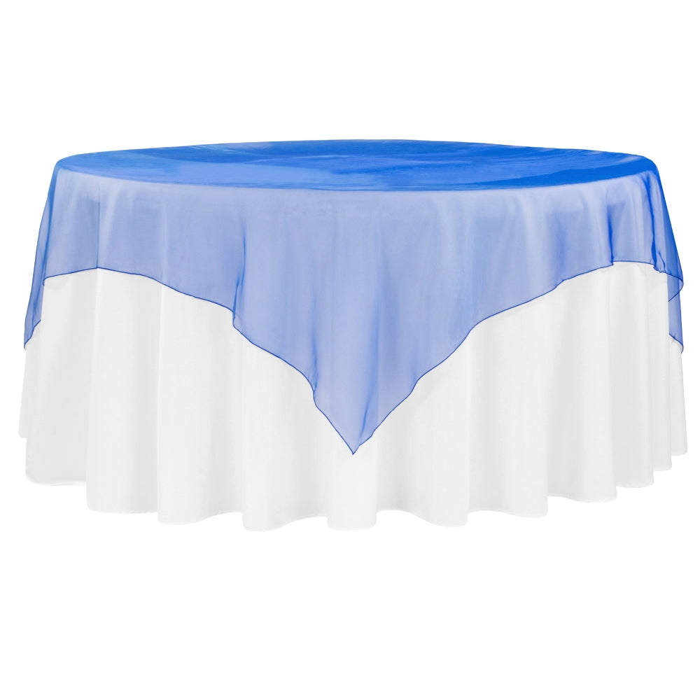 "Organza 72"" Square Table Overlay - Royal Blue"
