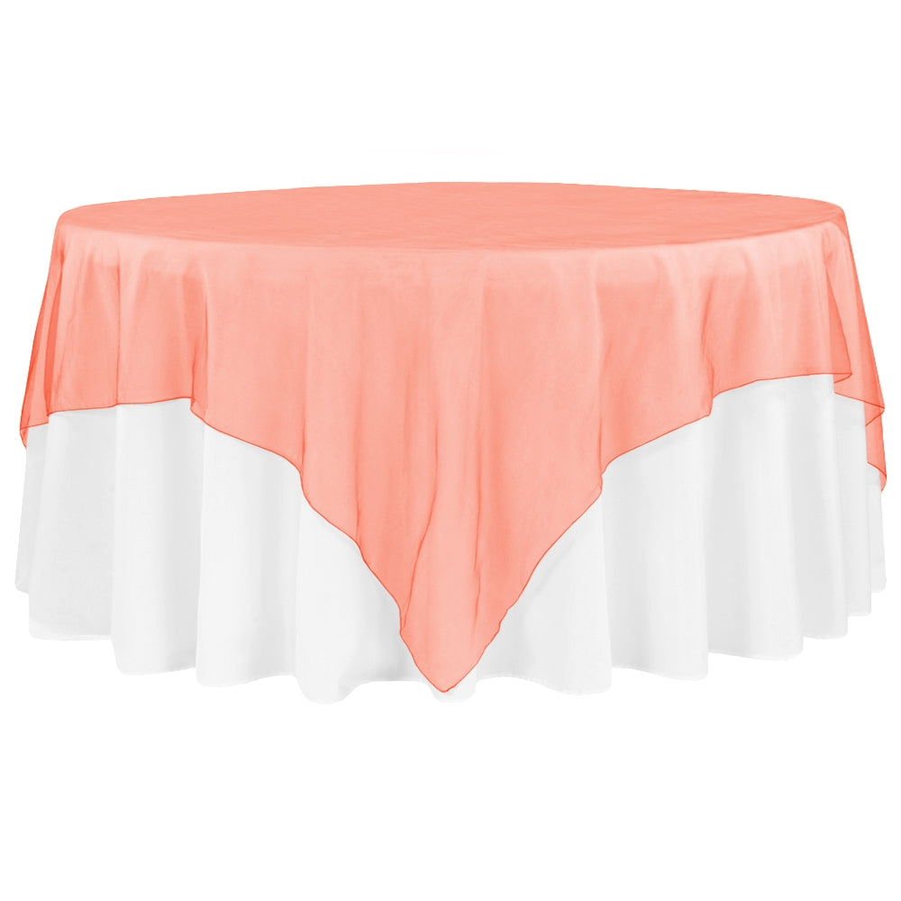 "Organza 90""x90"" Square Table Overlay - Orange (Clearance)"
