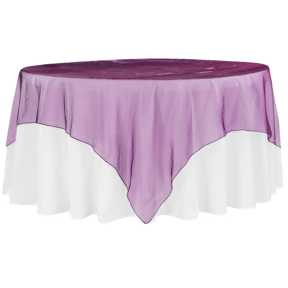 "Organza 90""x90"" Square Table Overlay - Eggplant/Plum"