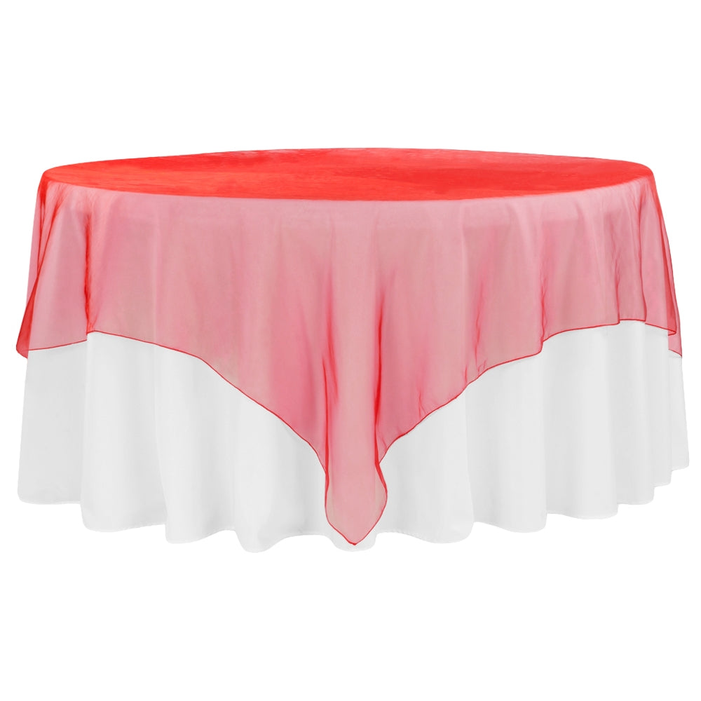 "Organza 90""x90"" Square Table Overlay - Red"