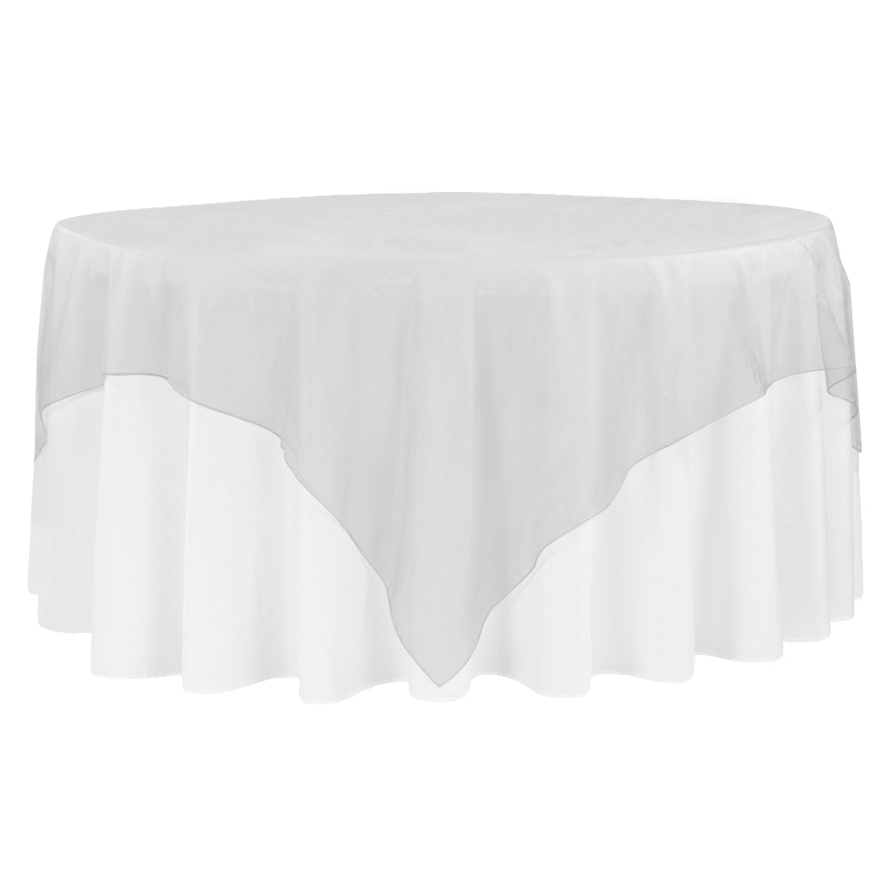 "Organza 90""x90"" Square Table Overlay - Silver"