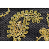 "Paisley Sequin Table Overlay Topper 85""x85"" Square - Gold"