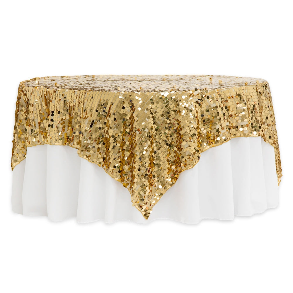"Large Payette Sequin Table Overlay Topper 90""x90"" Square - Gold"