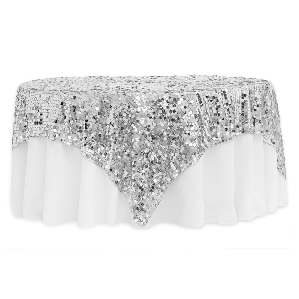"Large Payette Sequin Table Overlay Topper 90""x90"" Square - Silver"