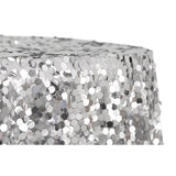 "Large Payette Sequin 132"" Round Tablecloth - Silver"