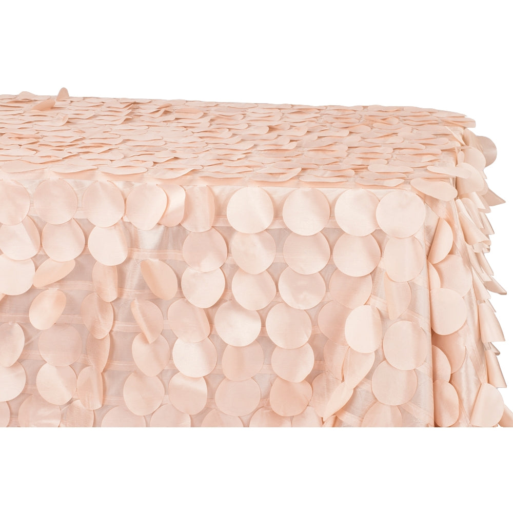 "90""x156"" Petal Circle Taffeta Rectangular Tablecloth - Blush/Rose Gold"