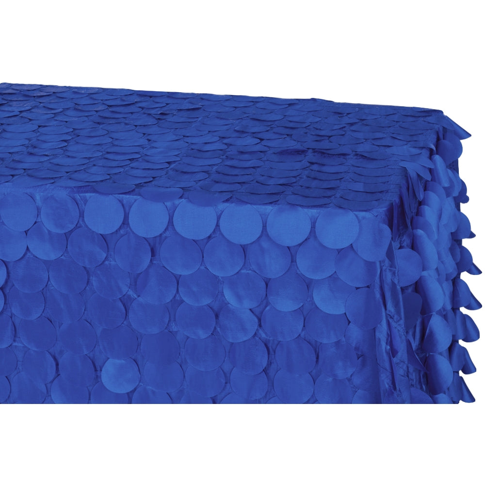 "90""x156"" Petal Circle Taffeta Rectangular Tablecloth - Royal Blue"