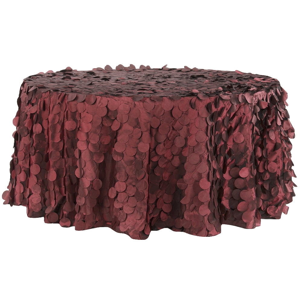 "Petal Circle Taffeta Round 120"" Tablecloth - Apple Red"