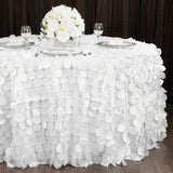 "Petal Circle Taffeta 132"" Round Tablecloth - White"