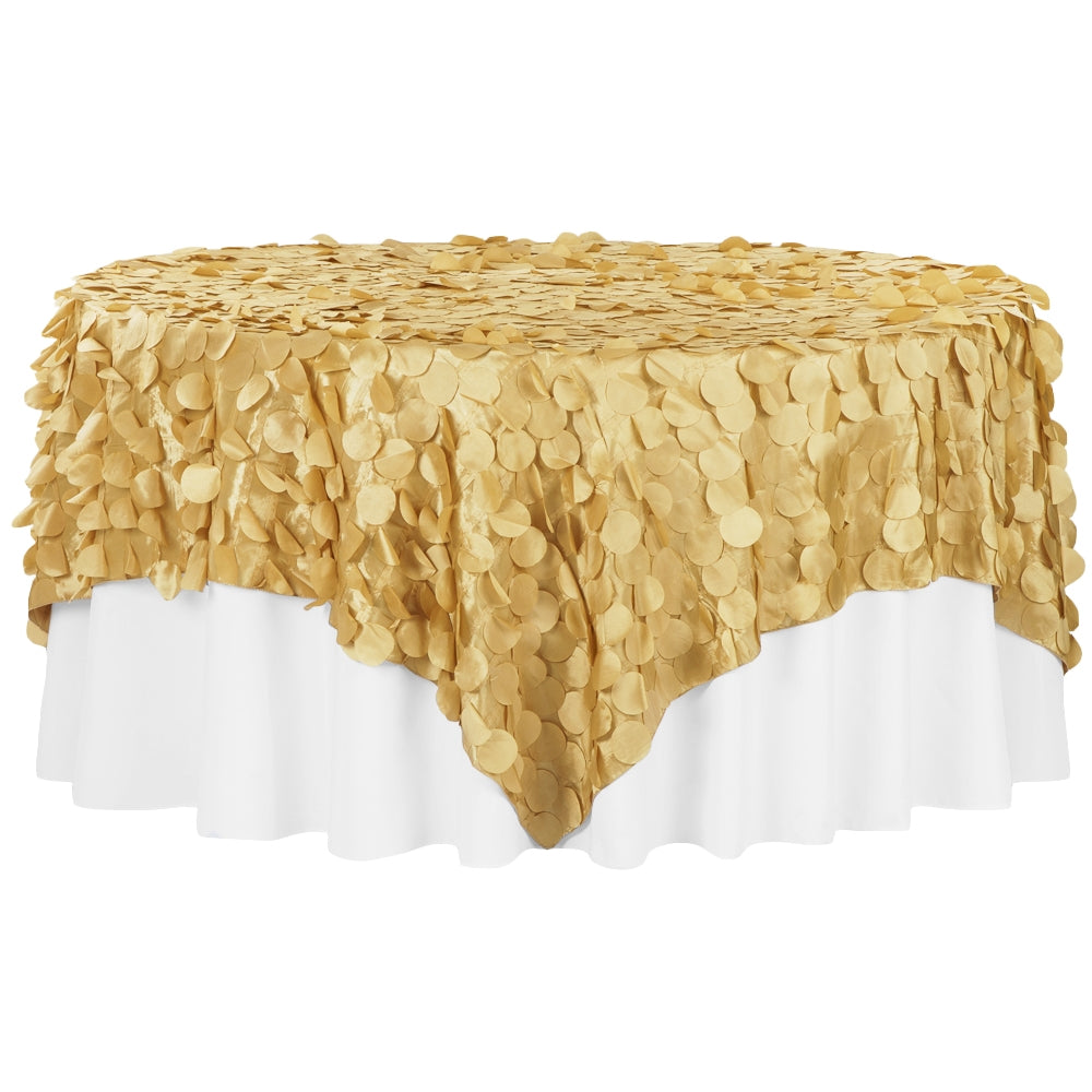 "Petal Circle Taffeta 90""x90"" Square Table Overlay - Gold"