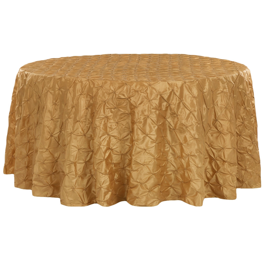 "120"" Pinchwheel Round Tablecloth - Gold Antique"