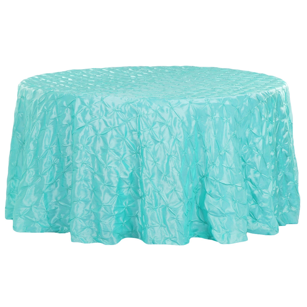 "132"" Pinchwheel Round Tablecloth - Turquoise (Clearance)"