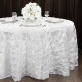 "120"" Pinchwheel Round Tablecloth - White"