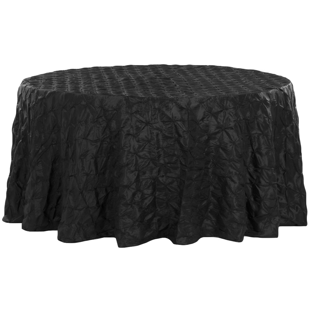 "120"" Pinchwheel Round Tablecloth - Black"