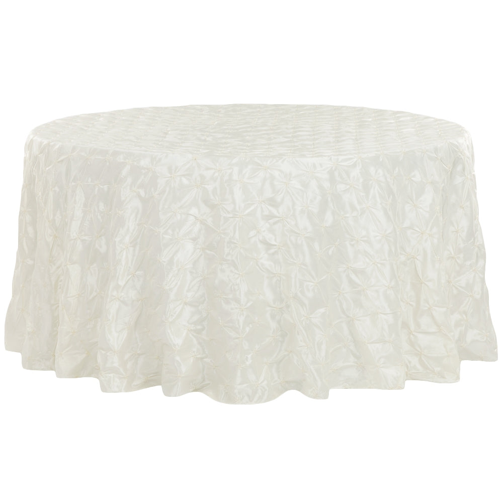 "120"" Pinchwheel Round Tablecloth - Ivory"