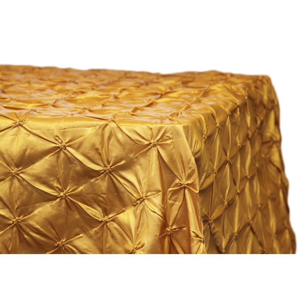 "Pinchwheel 90""x156"" Rectangular Tablecloth - Gold Antique"