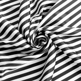 "Pinstripe 132"" Satin Round Tablecloth - Black & White"