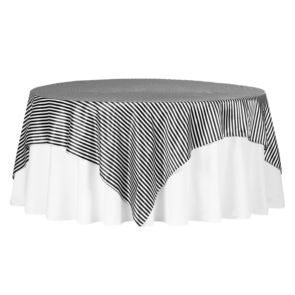 "Pinstripe 90""x90"" Square Satin Table Overlay - Black & White"