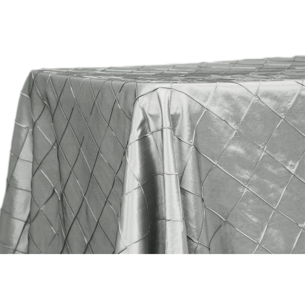 "Pintuck 90""x156"" Rectangular Tablecloth - Silver"
