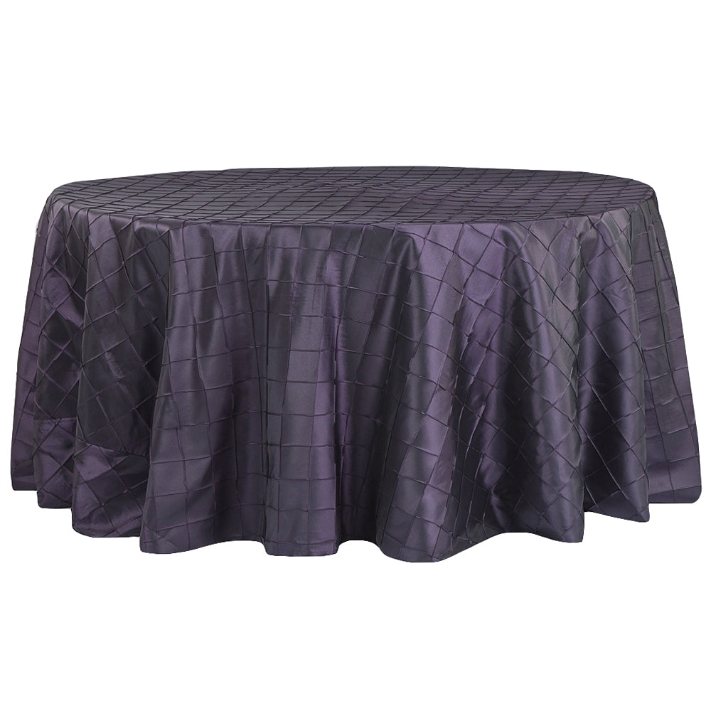 "Pintuck 120"" Round Tablecloth - Eggplant/Plum"