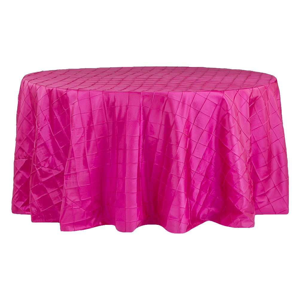 "Pintuck 120"" Round Tablecloth - Fuchsia"