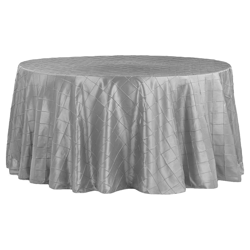 "Pintuck 132"" Round Tablecloth - Silver"