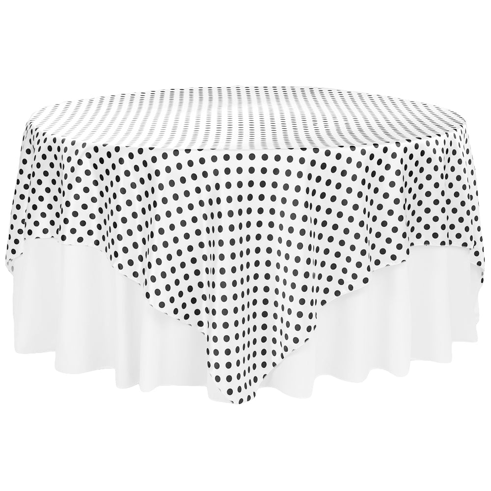 "Polka Dot 90""x90"" Square Satin Table Overlay - Black & White"