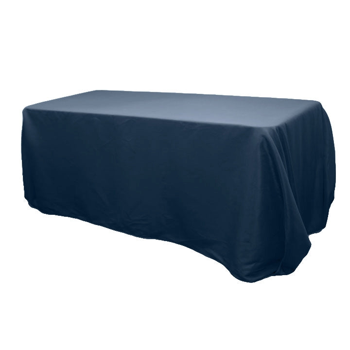 "90""x156"" Rectangular Oblong Polyester Tablecloth - Navy Blue"