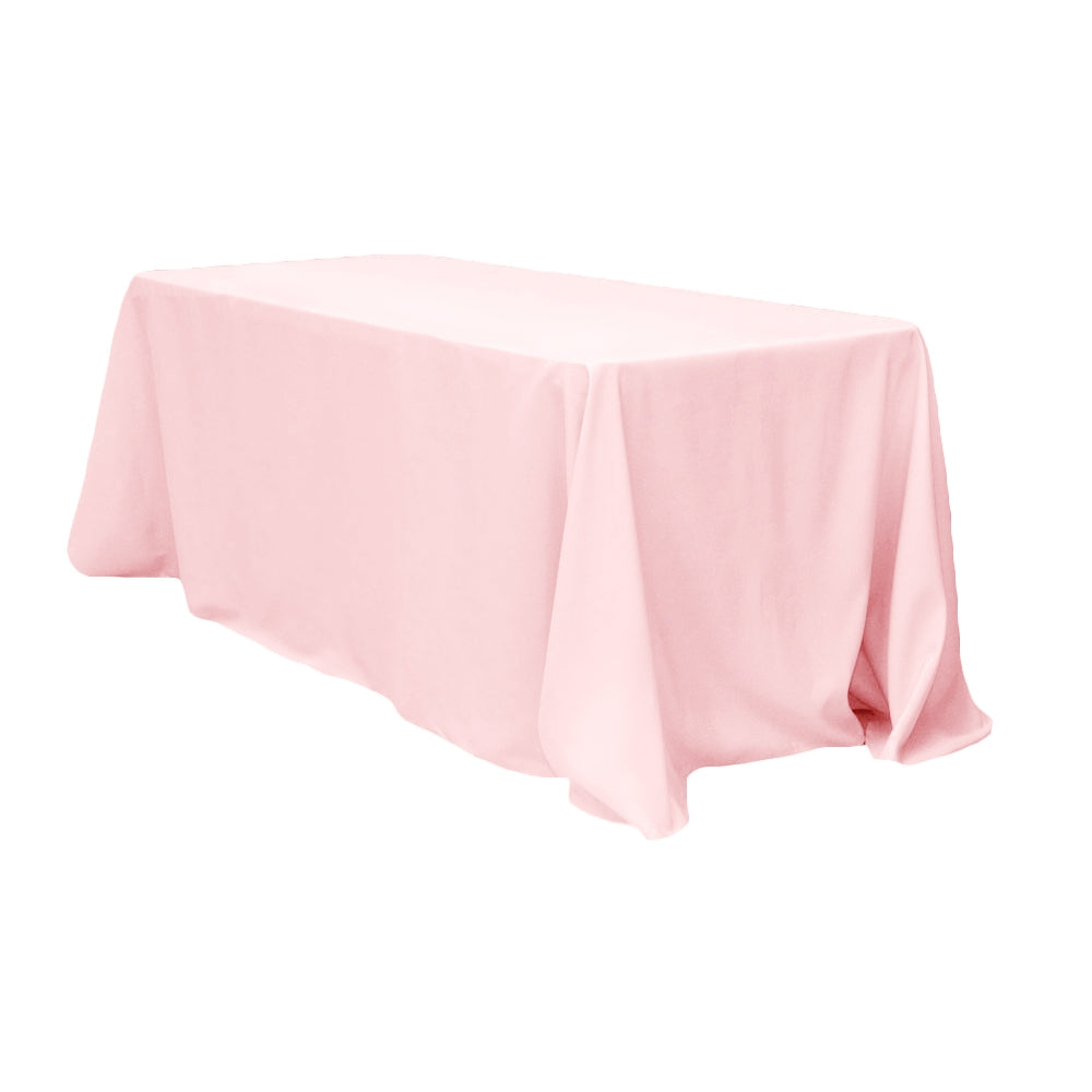 "90""x156"" Rectangular Oblong Polyester Tablecloth - Pastel Pink"
