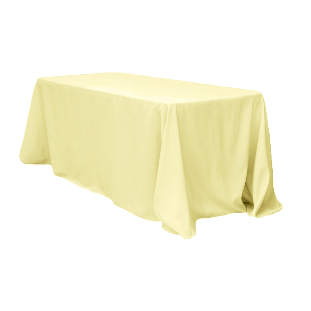 "90""x132"" Rectangular Oblong Polyester Tablecloth - Pastel Yellow"