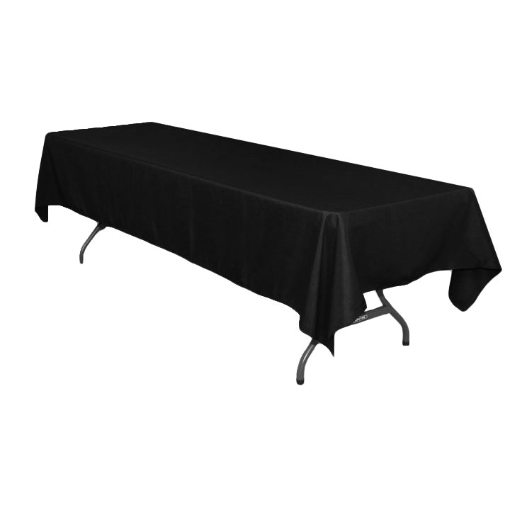 "Rectangular Polyester Tablecloth 60""x126"" - Black"