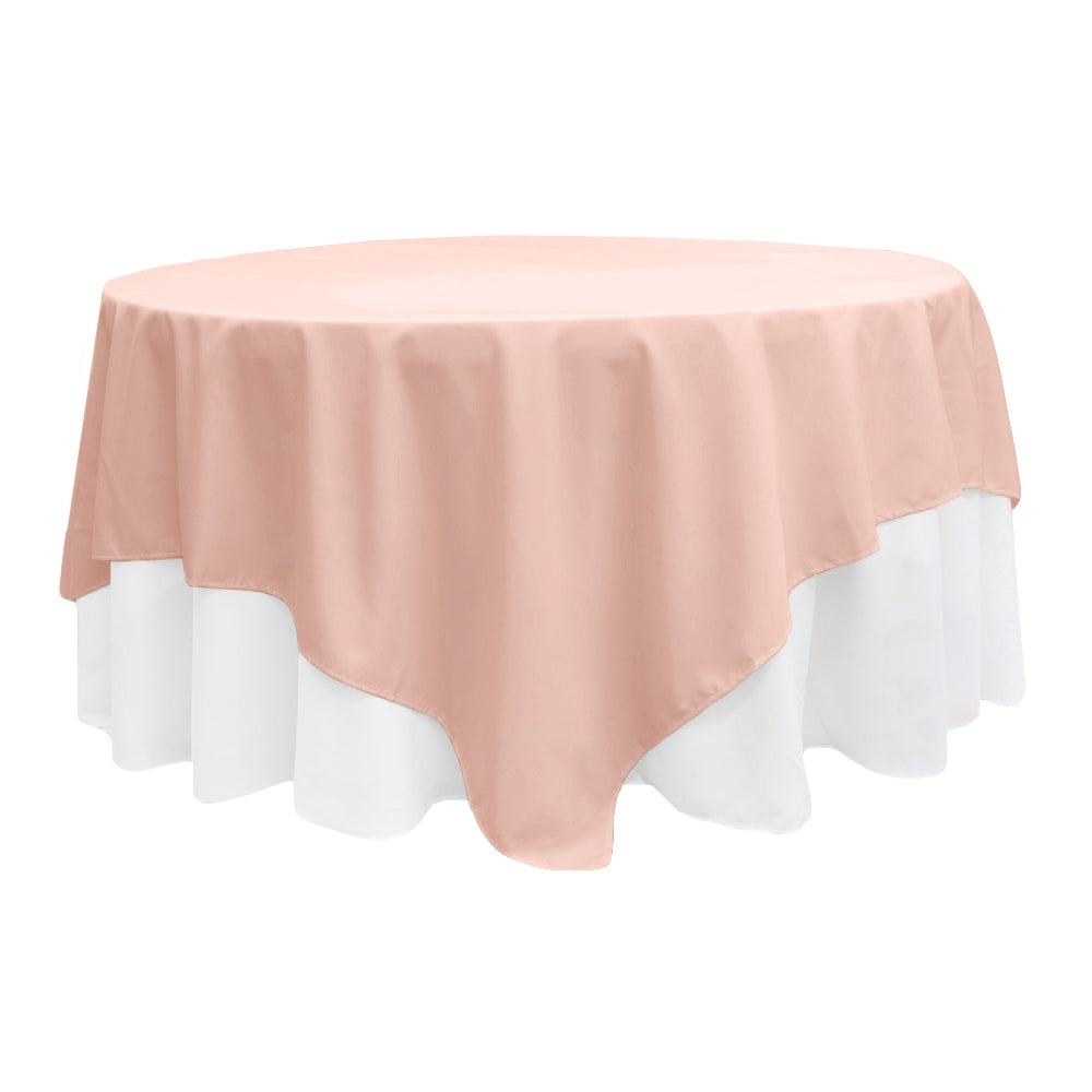 "Polyester Square 90""x90"" Overlay/Tablecloth - Blush/Rose Gold"