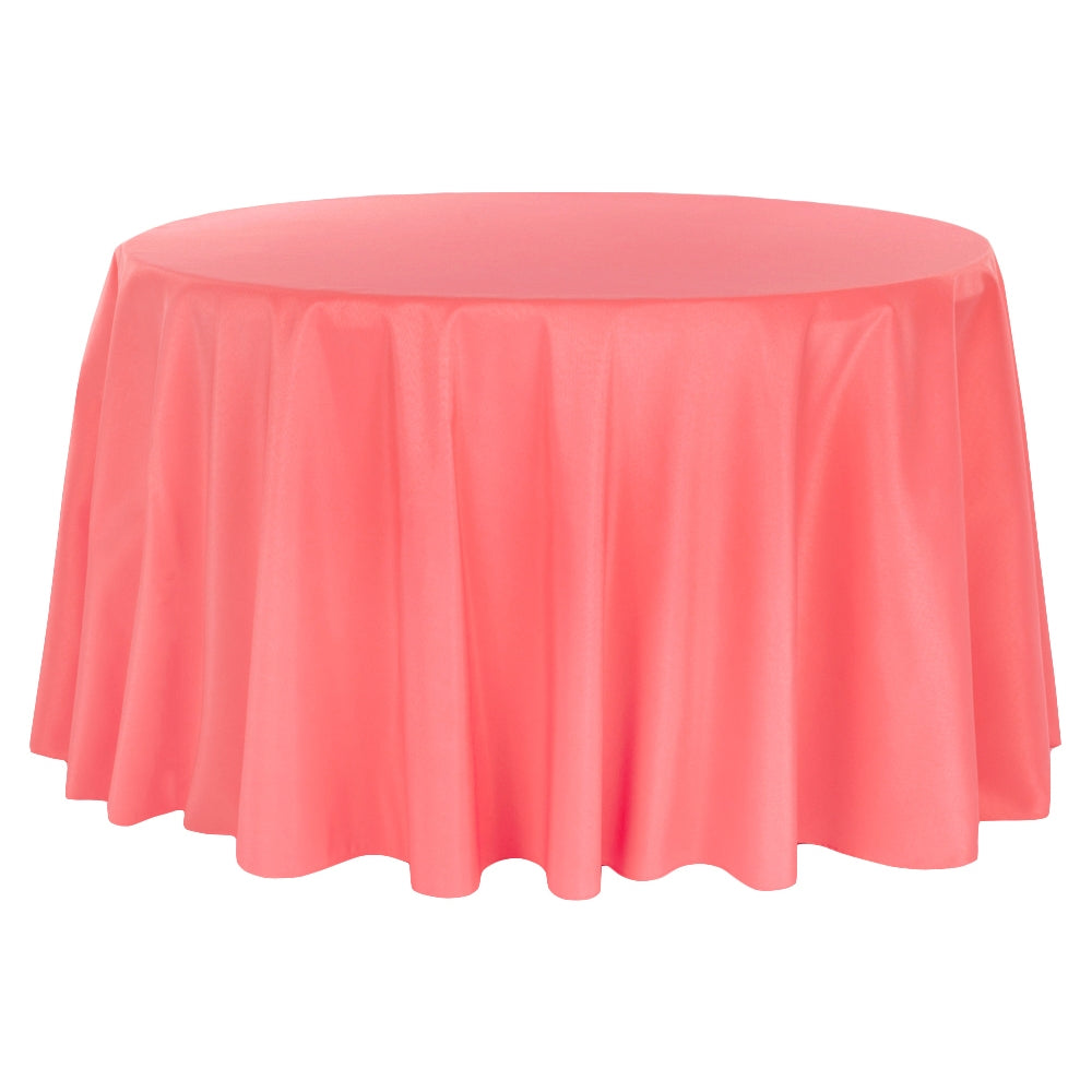 "Polyester 108"" Round Tablecloth - Coral"