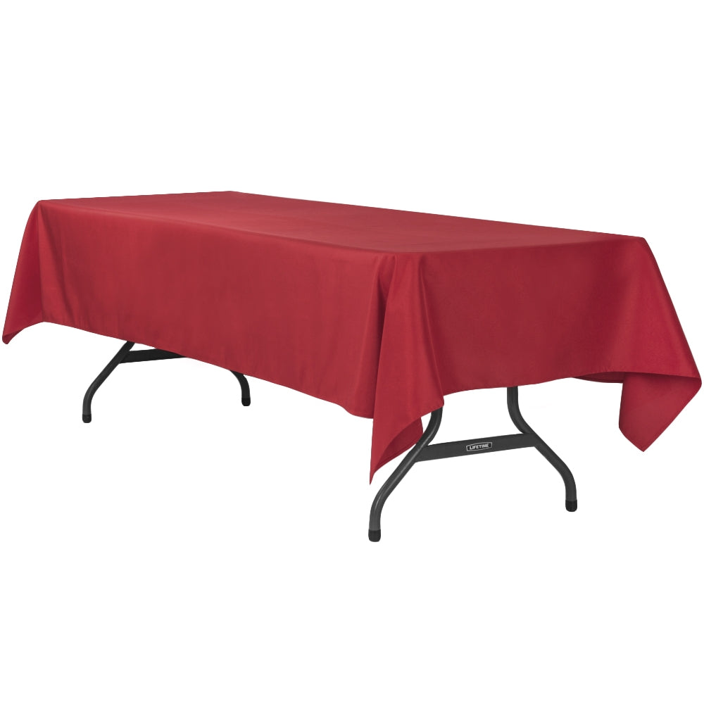 "60""x120"" Rectangular Polyester Tablecloth - Apple Red"