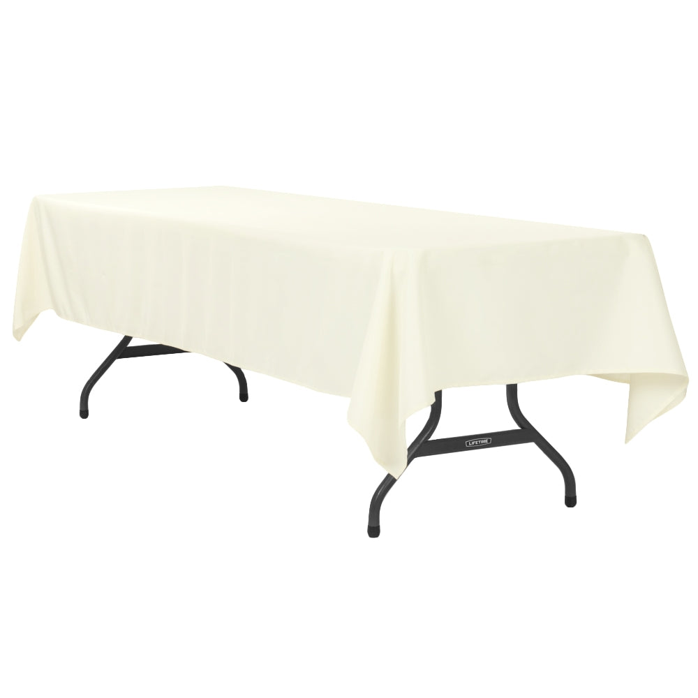 "60""x120"" Rectangular Polyester Tablecloth - Light Ivory/Off White"