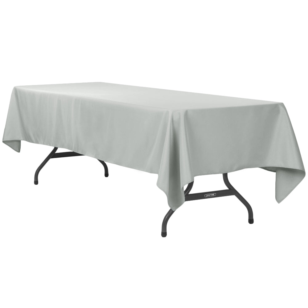 "60""x120"" Rectangular Polyester Tablecloth - Gray/Silver"