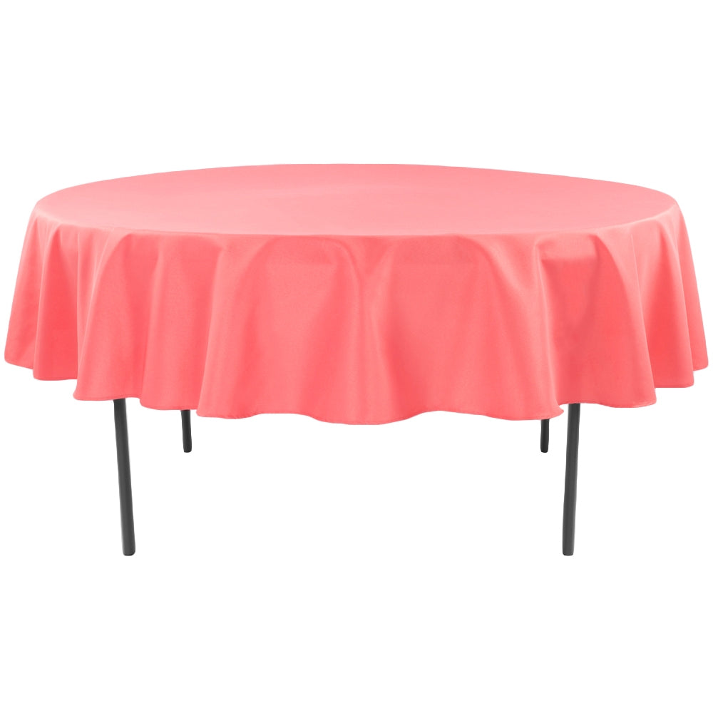 "Polyester 90"" Round Tablecloth - Coral"