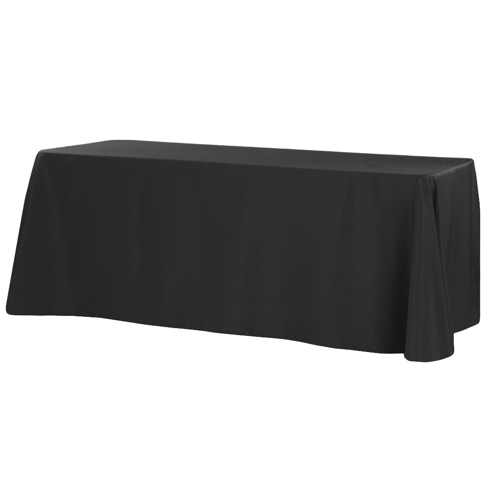 "90""x132"" Rectangular Oblong Polyester Tablecloth - Black"