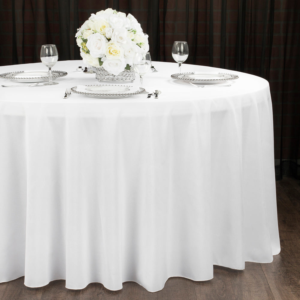 "Economy Polyester Tablecloth 120"" Round - White (Clearance)"