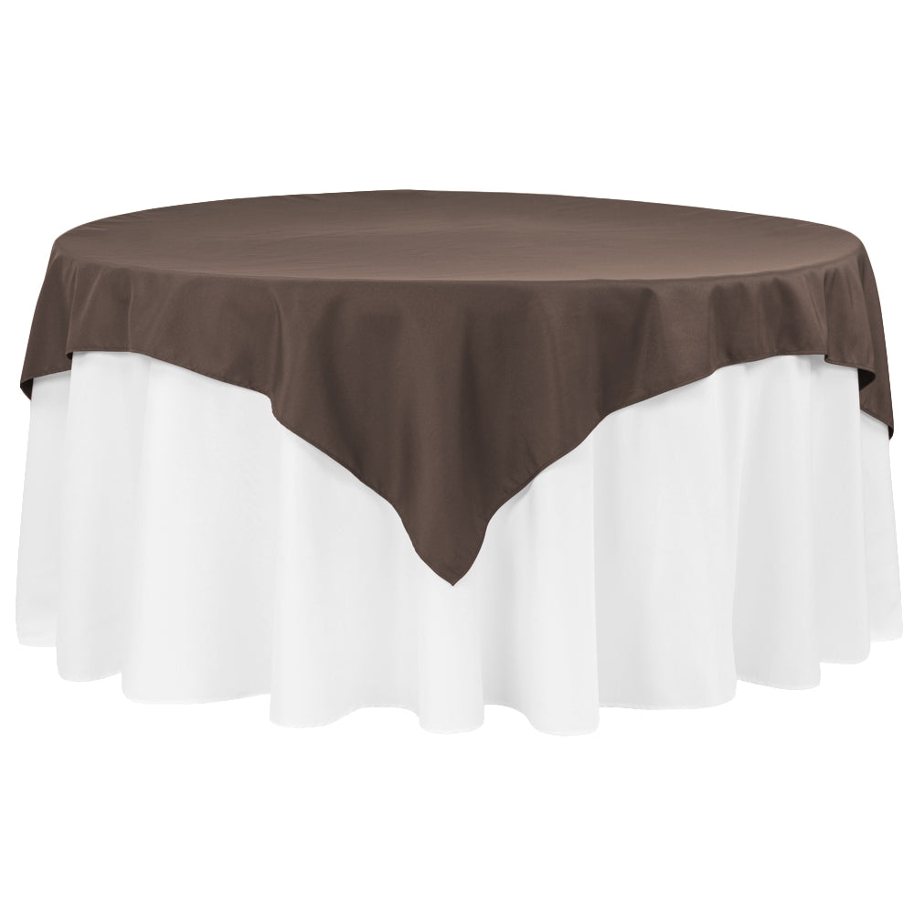 "Polyester Square 72"" Overlay/Tablecloth - Chocolate"