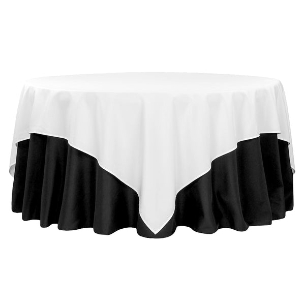 Polyester Square 90 Quot X90 Quot Overlay Tablecloth White Cv