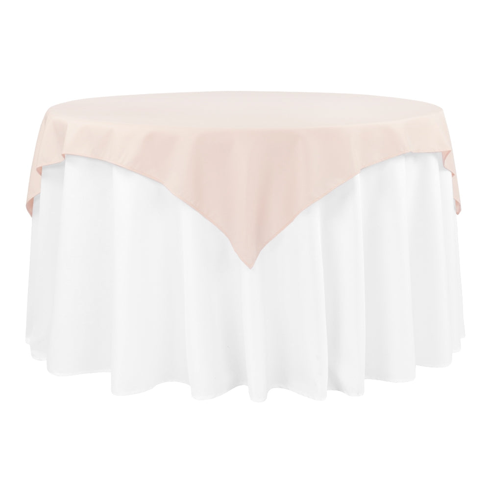 "Polyester Square 54"" Overlay/Tablecloth - Blush/Rose Gold"