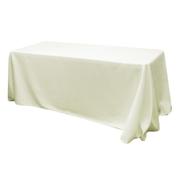 "90""x156"" Rectangular Oblong Polyester Tablecloth - Light Ivory/Off White"