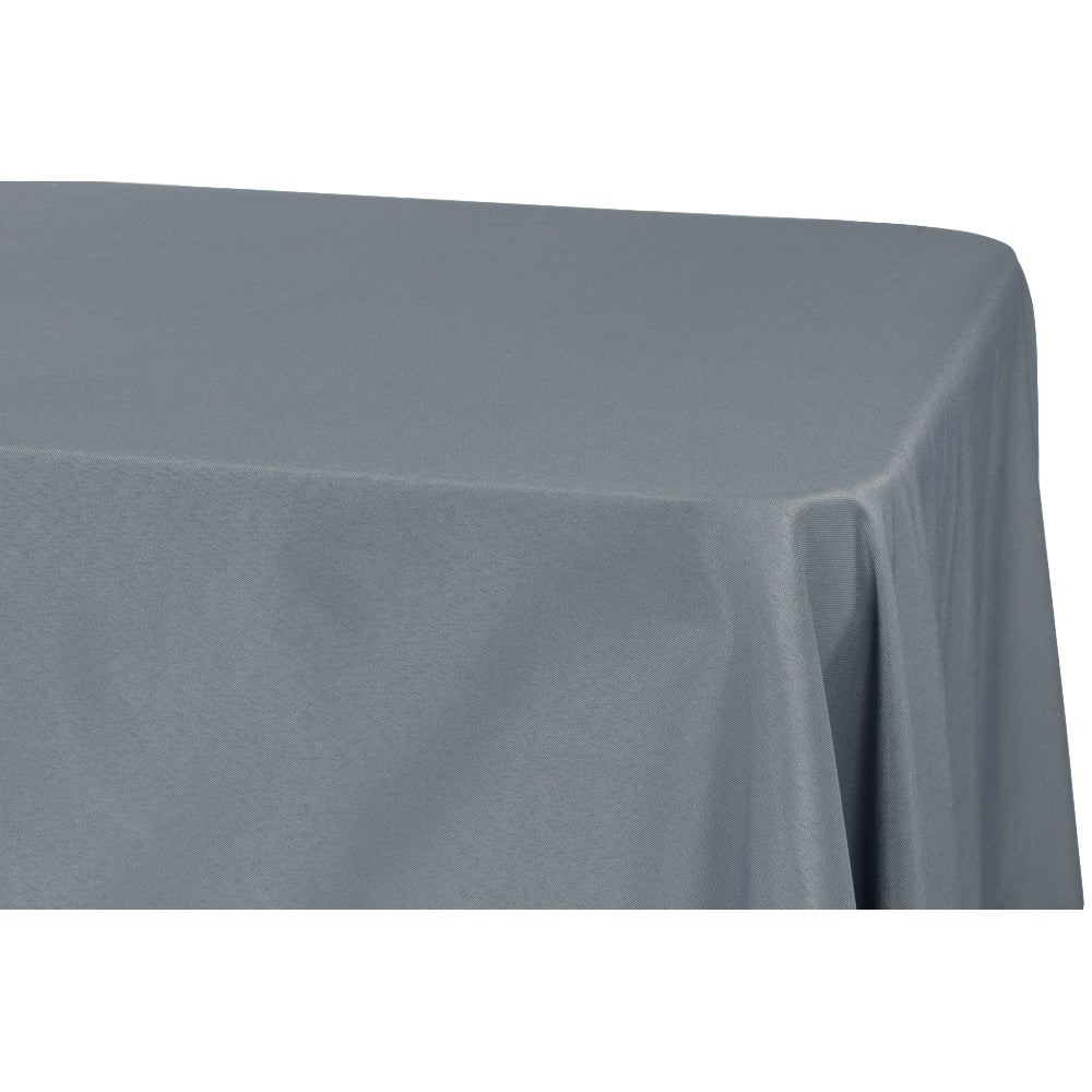 "90""x132"" Rectangular Oblong Polyester Tablecloth - Pewter"