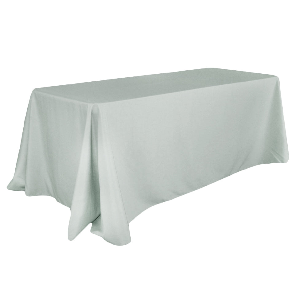 "90""x132"" Rectangular Oblong Polyester Tablecloth - Gray/Silver"