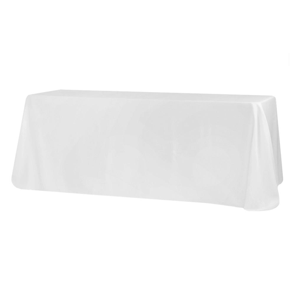 "90""x132"" Rectangular Oblong Polyester Tablecloth - White"
