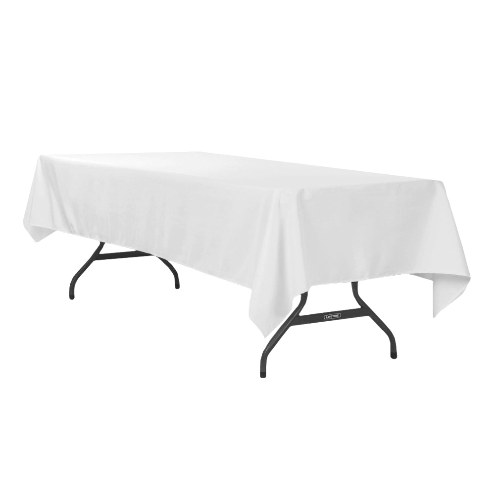 "60""x120"" Rectangular Polyester Tablecloth - White"