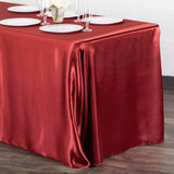 "Satin Rectangular 90""x132"" Tablecloth - Burgundy"