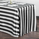 "Stripe Satin Rectangular Tablecloth 90""x132"" - Black & White"